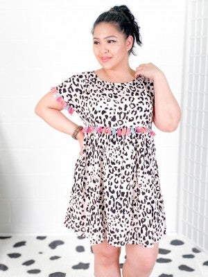 Babydoll Leopard Dress with Rainbow Tassels