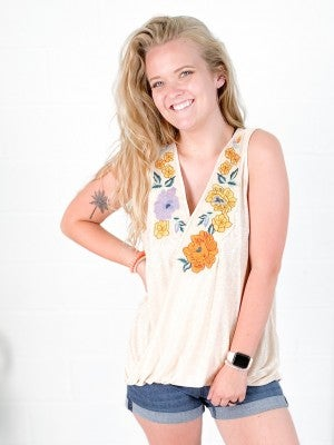 Floral Embroidery Crossover Sleeveless Top