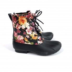KIDS Black Floral Duck Boot Rainboots