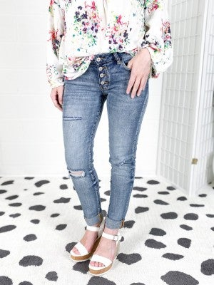 PLUS/REG Kancan SUPER STRETCHY Unicorn Delight Button Fly Distressed Jeans