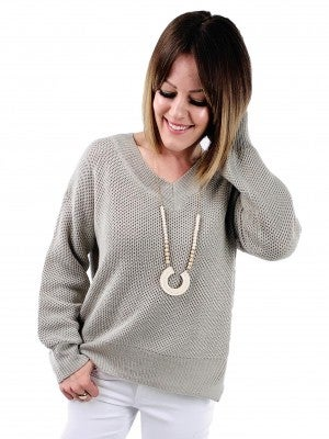 Long Sleeve V Neck Sweater with Side Slits (Multiple Colors)