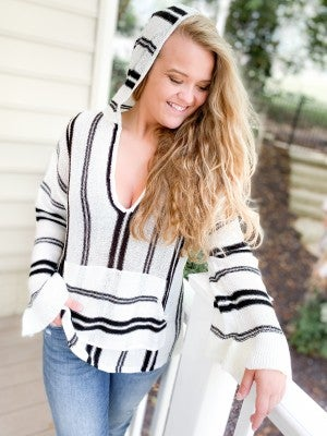 Lightweight Black Striped Hoodie with Front Pocket