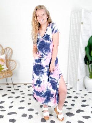 Pink Tie Dye Maxi Dress