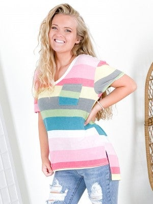 Multi Color Stripe Lounge V-Neck Top