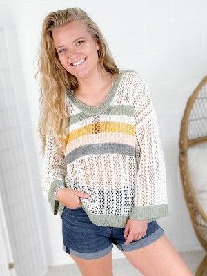 POL Casual Stripe Hooded Lightweight Sweater