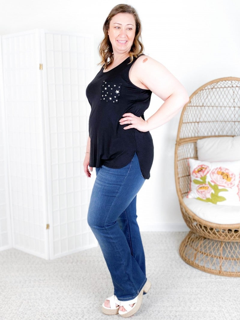 PLUS/REG Black Star Pocket Sleeveless Tunic Top