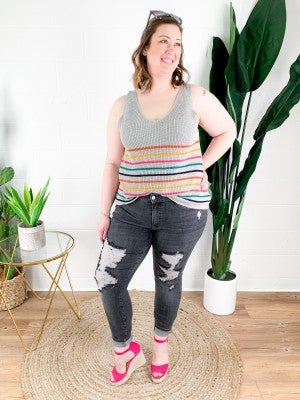 PLUS/REG Striped Sleeveless Sweater