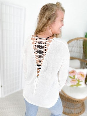 Long Sleeve Plunging Lace-Up Back Sweater