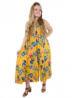 Floral Sleeveless Button Front Jumpsuit (Multiple Colors)