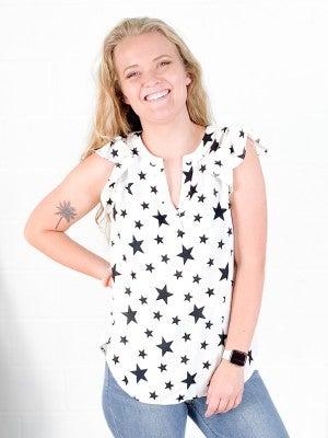 PLUS/REG Star Print Flutter Sleeve Top