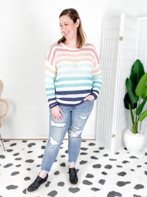 NOW IN PLUS/REG FP Fun All Weather Long Sleeve Striped Sweater (Multiple Colors)