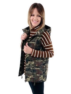 DOORBUSTER!! Camo Drawstring Waist Hooded Vest