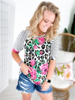 Leopard & Rose Print Top with Stripe Raglan Sleeves
