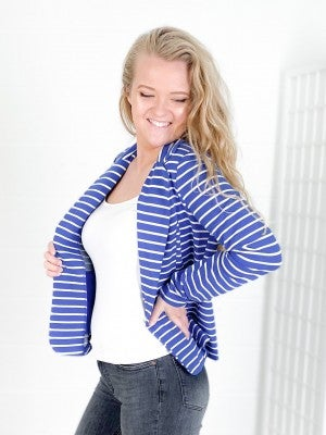 NOW ALSO IN PLUS! Cobalt Blue or Black Striped Blazer
