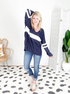 THE OG! Long Sleeve Varsity Stripe Sweater (Multiple Colors)