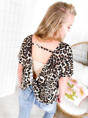 PLUS/REG Leopard Print Top with Twist Open Back