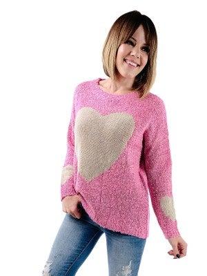 Super Soft Popcorn Knit Long Sleeve Heart Sweater