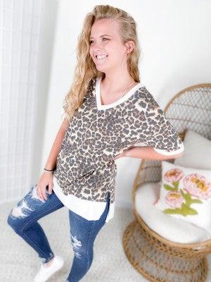 Cheetah Print V-Neck Top with High Low Hemline