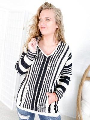 Black Striped Hoodie Sweater Long Sleeve Top