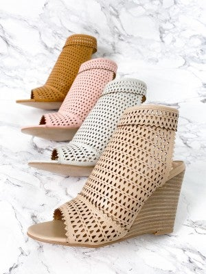 Triangle Perforated Wedge Heel (Multiple Colors)