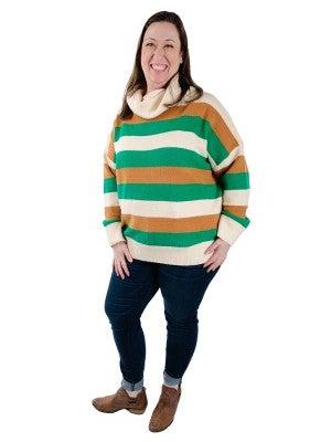 DOORBUSTER! Long Sleeve Color Block POL Turtleneck Dolman Sleeve Sweater (Multiple Colors)