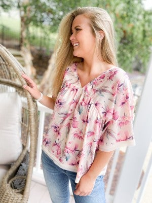 Flowy Floral Short Sleeve Top