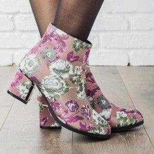 Chunky Heel Floral Booties