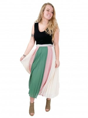 Stunning Stripe Pleated Skirt With Elastic Waistband