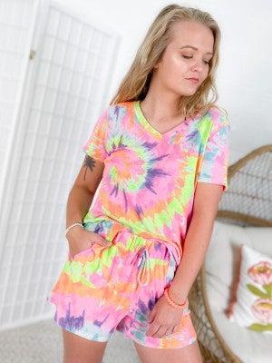 PLUS/REG Honeyme Neon Swirl Tie Dye Lounge Set