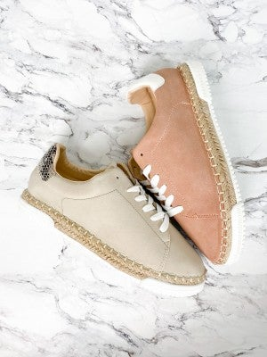 Lace Up Sneakers with Espadrille Sole (Multiple Colors)