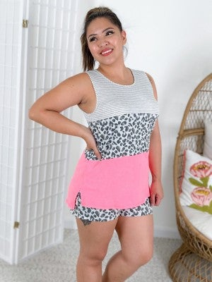 PLUS/REG Honeyme Stripe & Leopard Colorblock Lounge Set