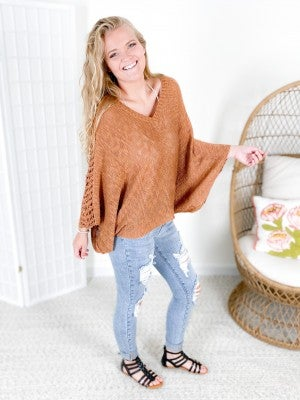 V Neck Knit Sweater with Open Weave Sleeve (Multiple Colors)