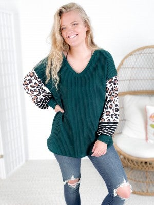 Hunter Green Ribbed Top with Leopard & Stripe Puff Sleeves