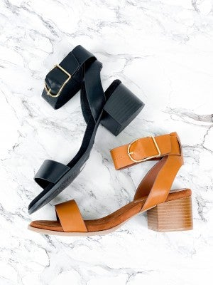 Camel or Black Ankle Strap Sandals