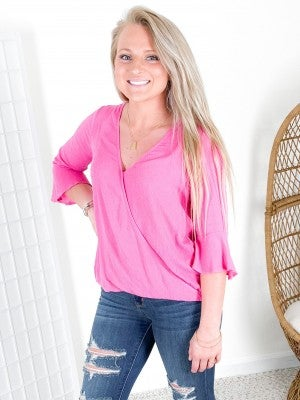 Wrap Front Pink Swiss Dot Top with Crochet Keyhole Back