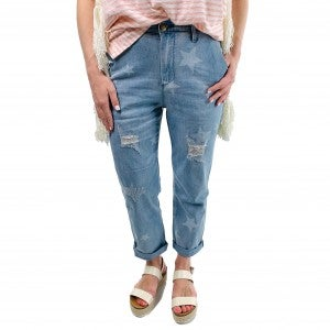 Star Printed High Rise Distressed Girlfriend Jeans