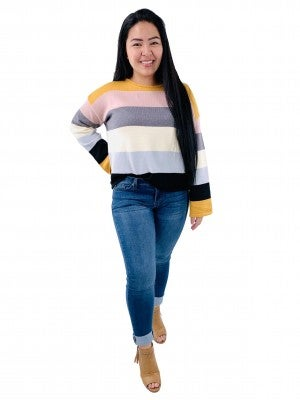 Long Sleeve Color Block Knit Sweater