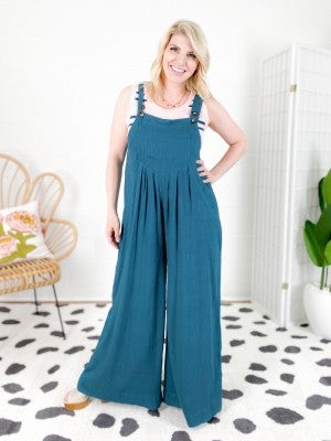 Square Neckline Linen Overall Jumpsuit