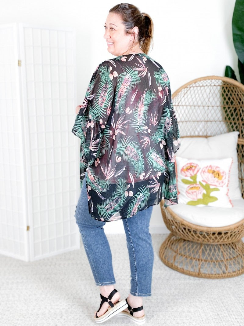 Tropical Leaf Kimono with Dolman Ruffle Sleeves and Side Slits