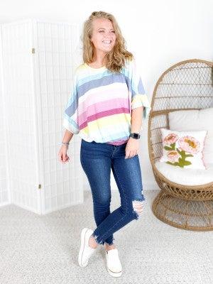 Multi Color Pastel Stripe Oversized Top