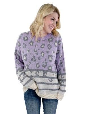 Lavender Leopard and Stripe Sweater
