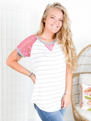 PLUS/REG Honeyme Striped Top with Pink Lace Sleeve