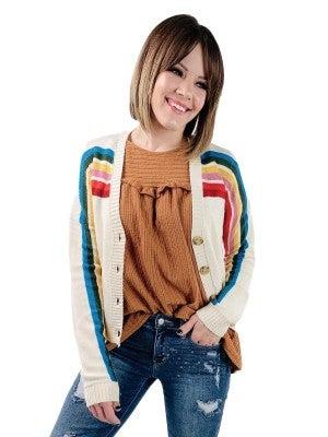 Rainbow Stripe Button Down Crop Cardigan