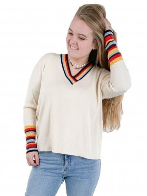 Retro Stripe Detail Sweater