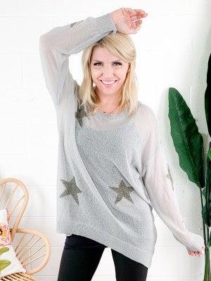 Grey Star Printed Spring Knit Sweater