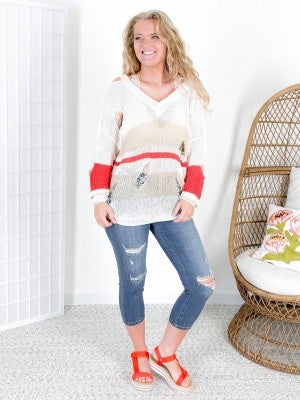 Lightweight Striped Cold Shoulder Sweater
