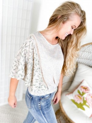 Ditsy Floral Wide Sleeve Top