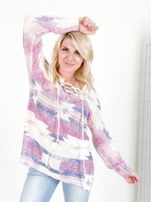 Laced Up Aztec Print Pullover