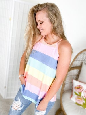 Halter Neck Rainbow Stripe Sleeveless Top