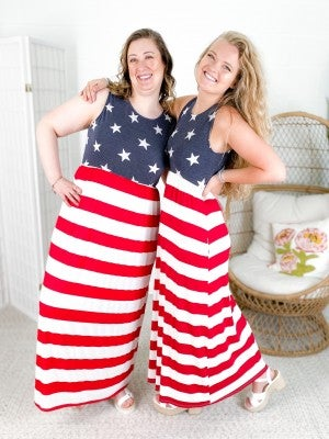 PLUS/REG Stars & Stripes Maxi Dress
